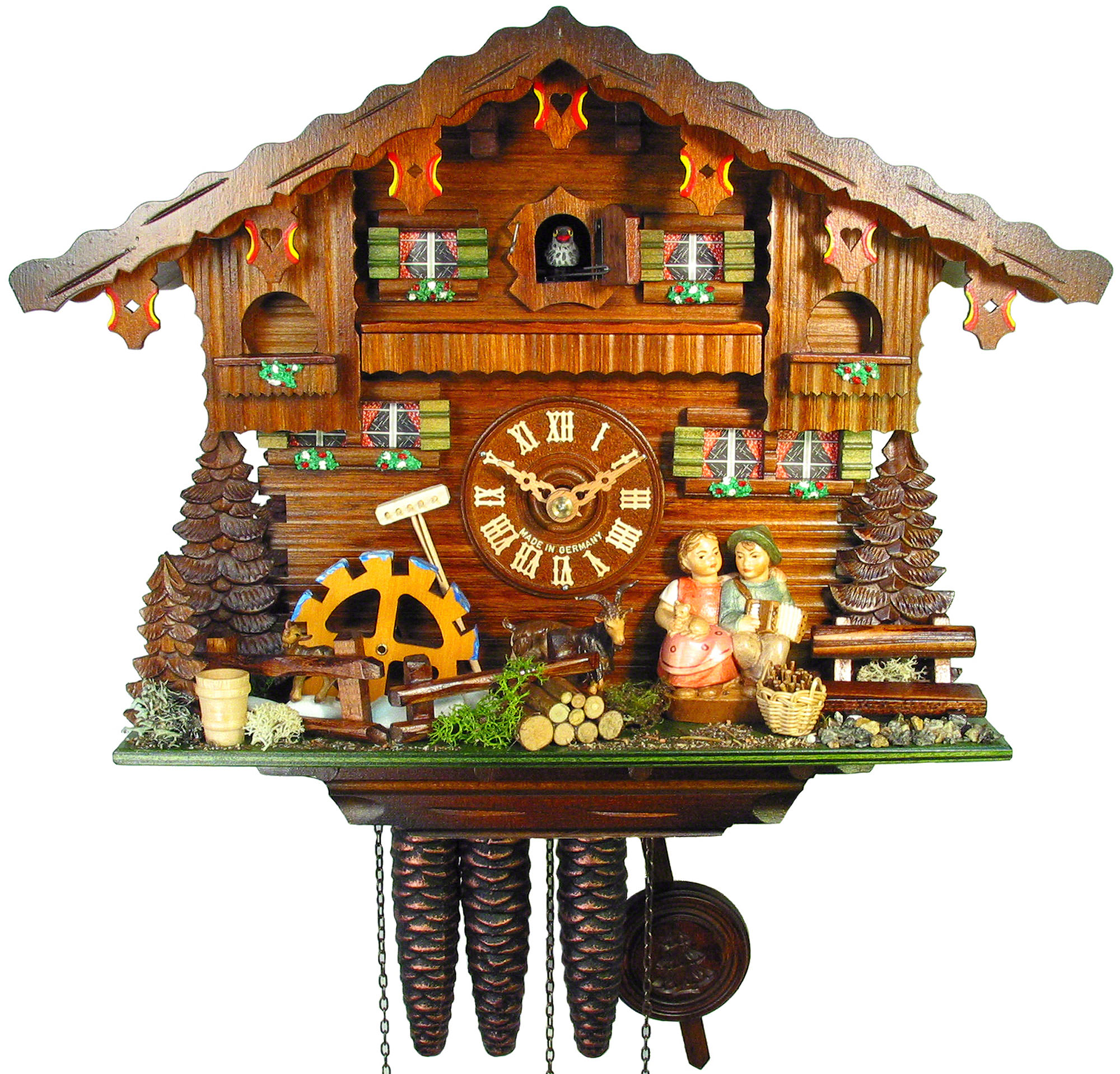 Cuckoo Clock 1 Day Movement Chalet Style 36cm By August