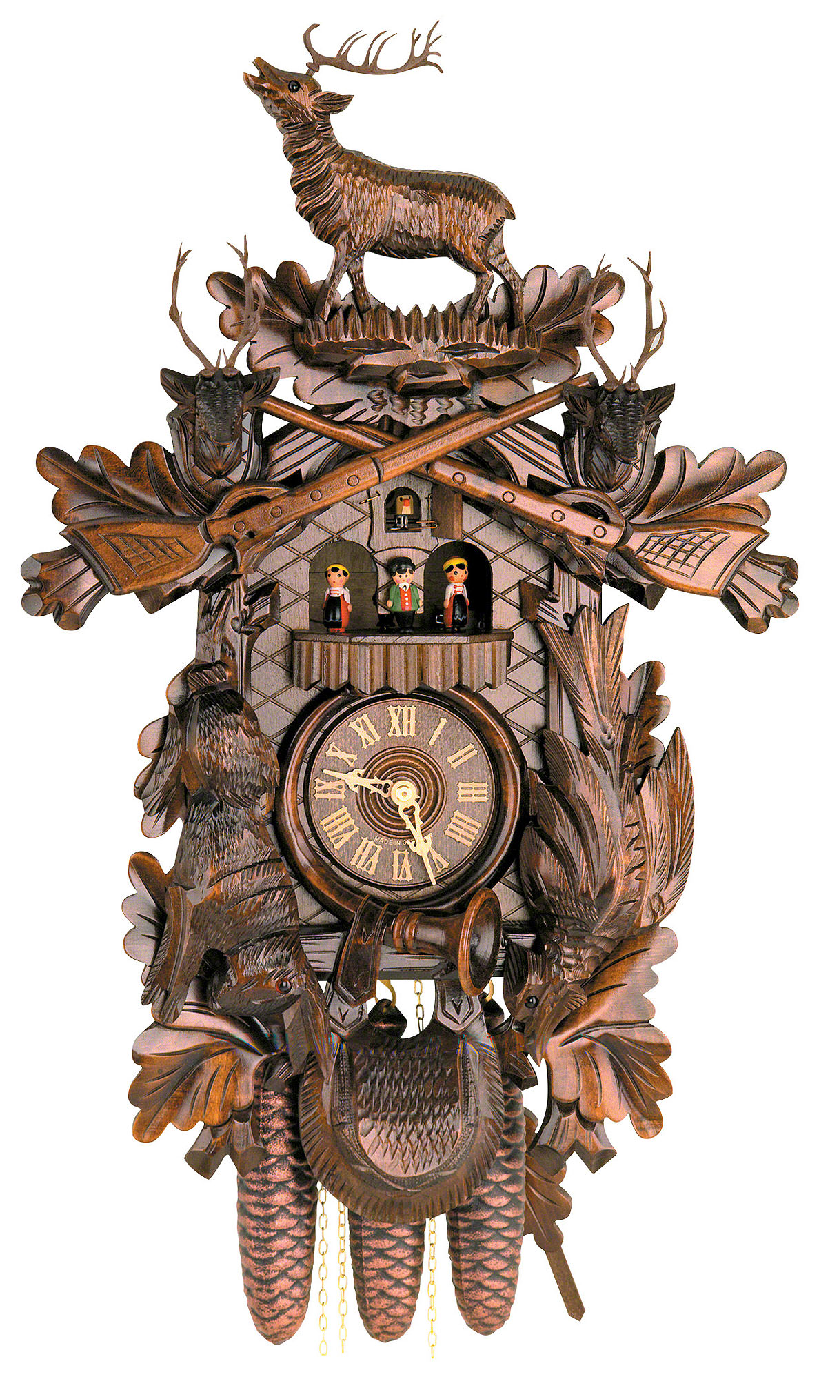 Cuckoo clock 8 day movement carved style 60cm by hekas for Www coo