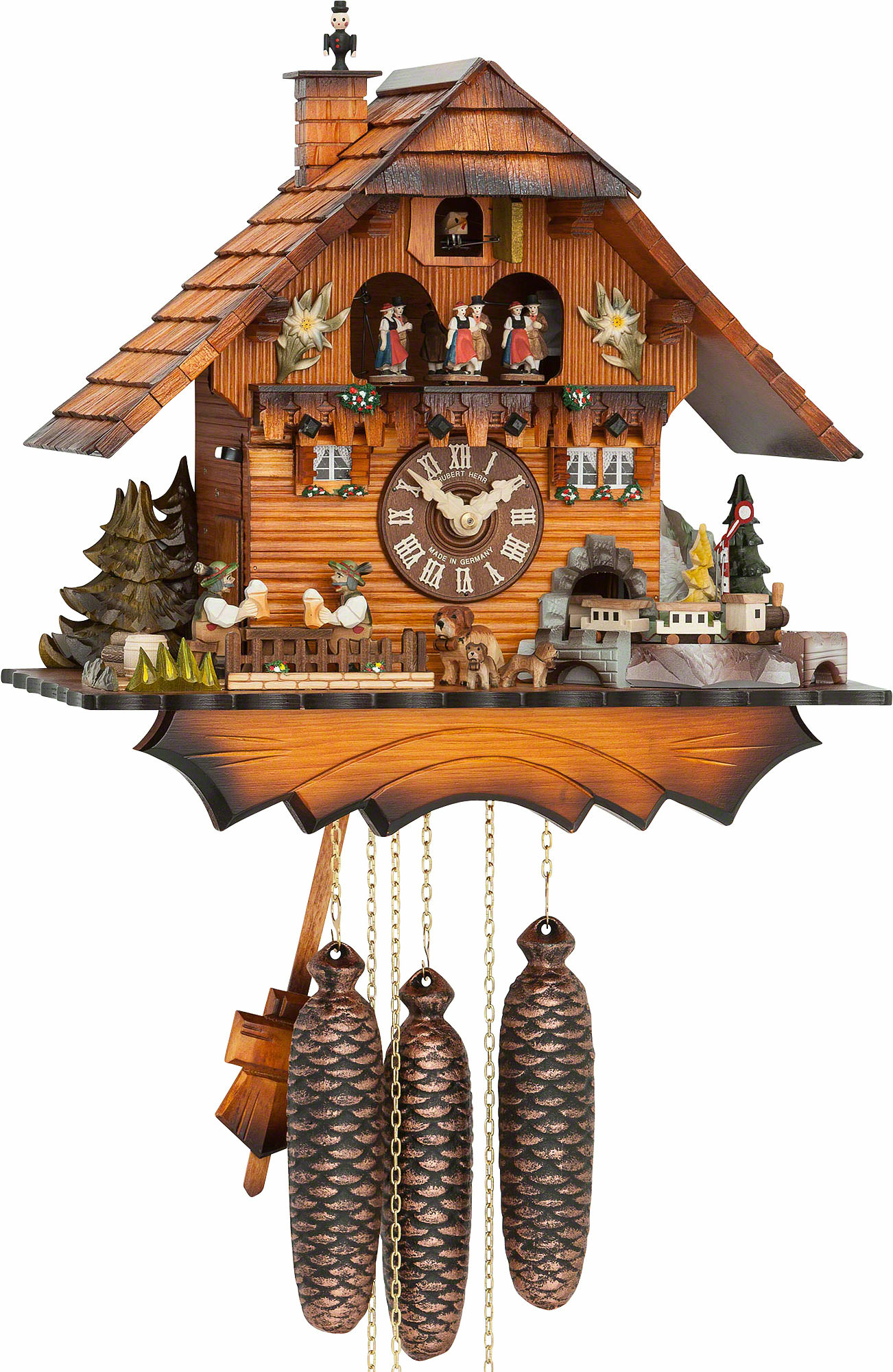 Cuckoo Clock 8 Day Movement Chalet Style 36cm By Hubert