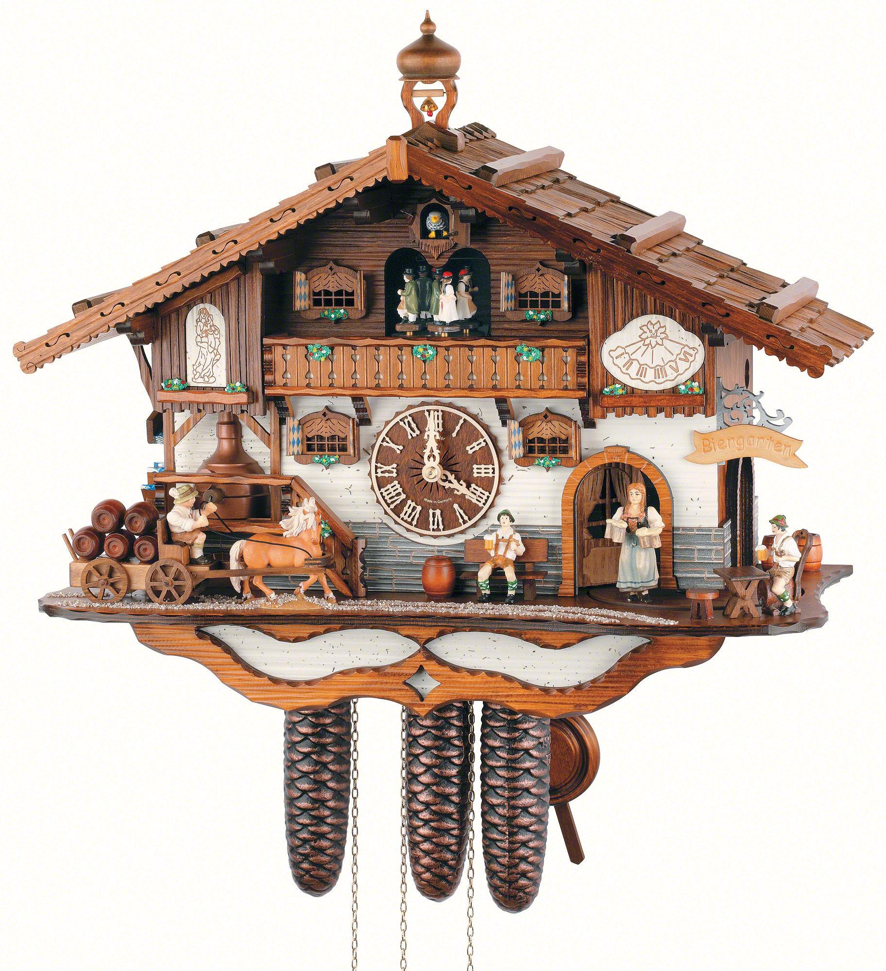 Cuckoo Clock 8 Day Movement Chalet Style 44cm By Anton