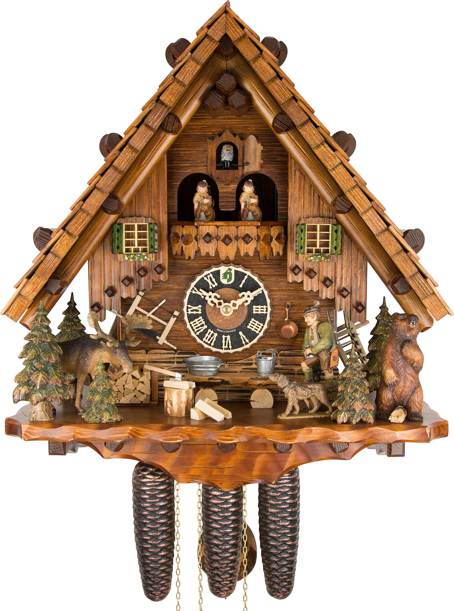 Cuckoo clock 8 day movement chalet style 44cm by h nes 8635t How to make a cuckoo clock