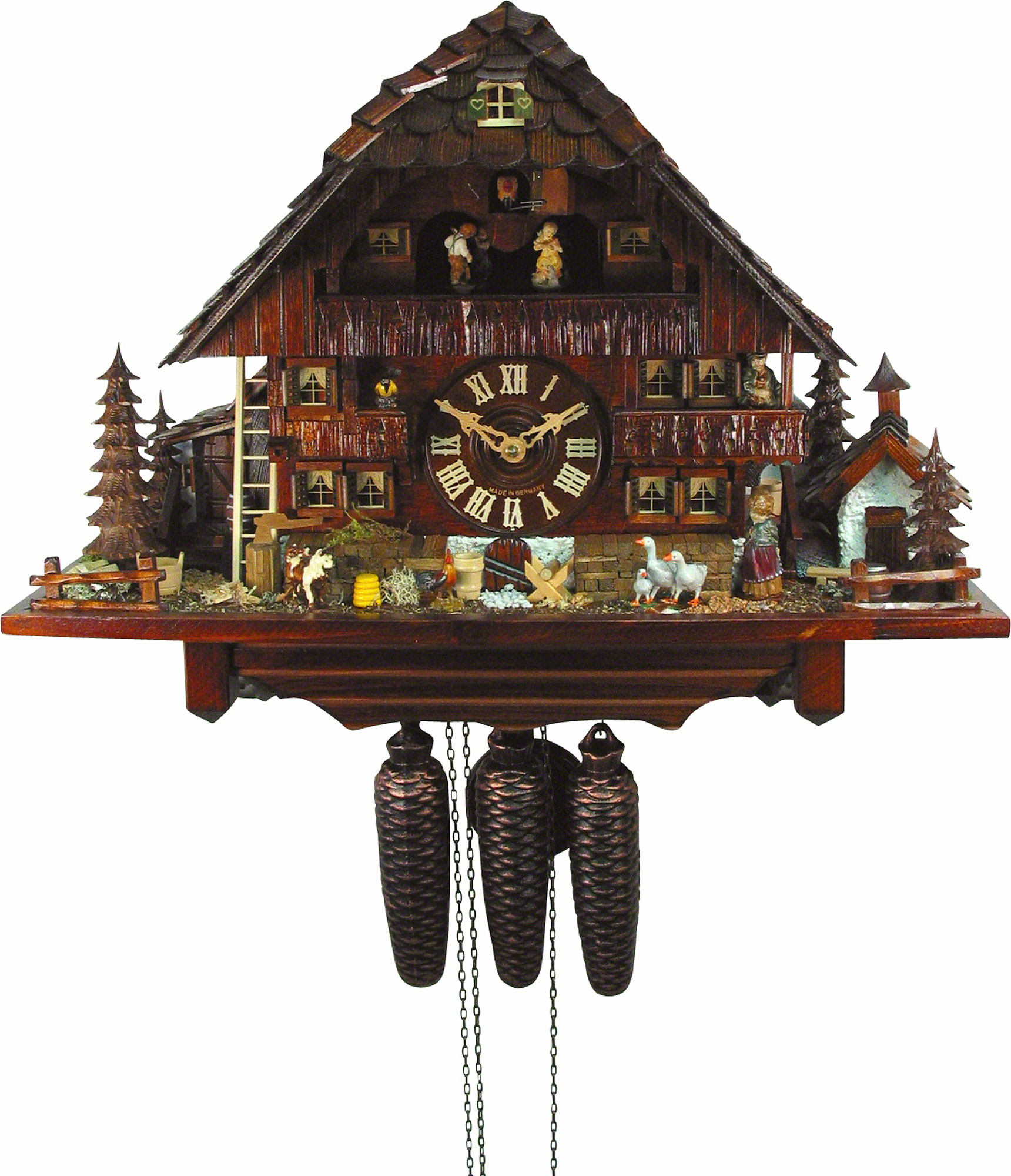 Cuckoo Clock 8 Day Movement Chalet Style 45cm By August