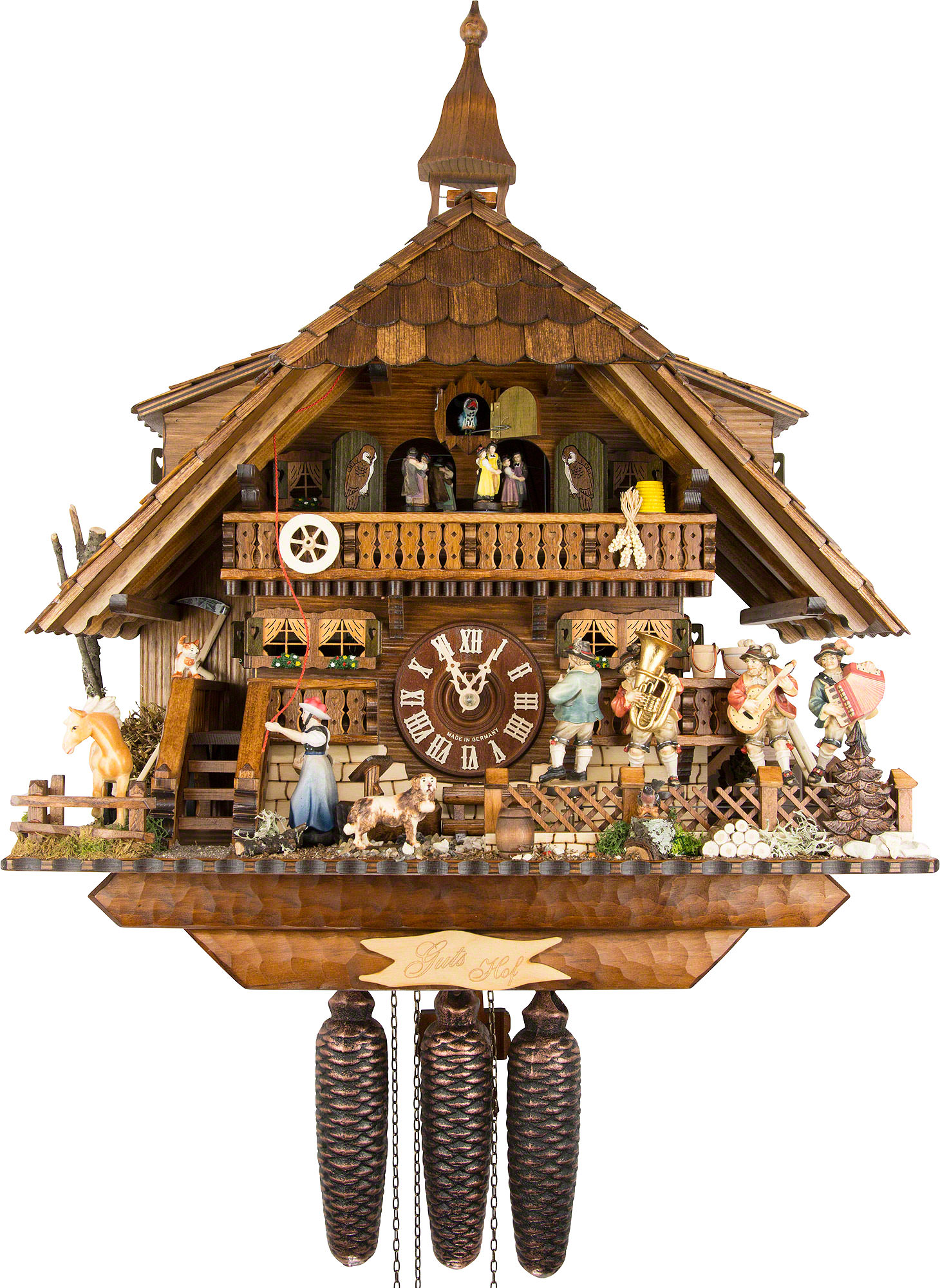 Cuckoo Clock 8 Day Movement Chalet Style 47cm By August