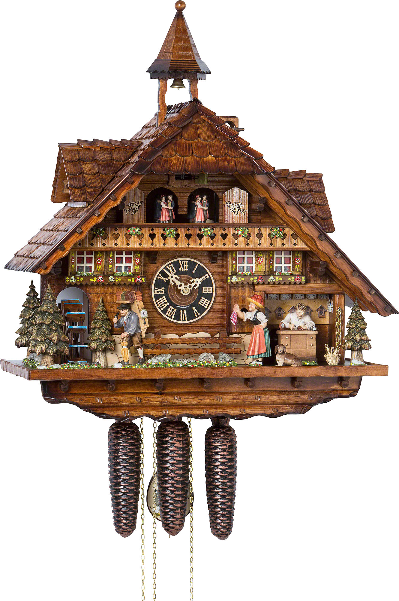 cuckoo clock 8 day movement chalet style 55cm by h nes 03586206t. Black Bedroom Furniture Sets. Home Design Ideas