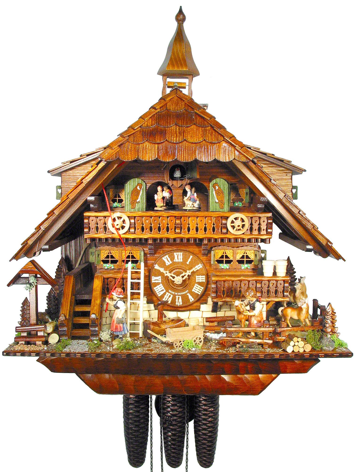 Cuckoo Clock 8 Day Movement Chalet Style 58cm By August