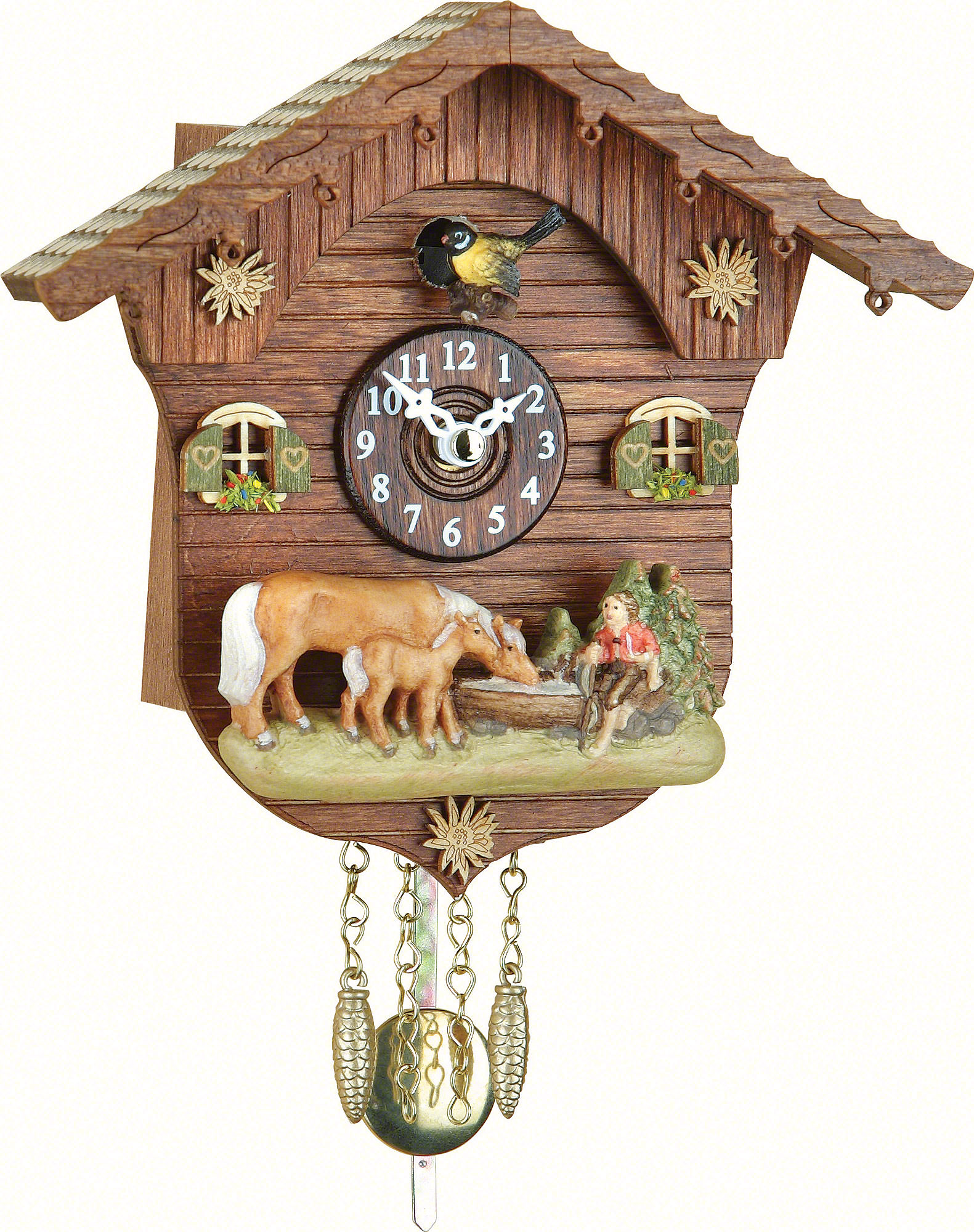 Cuckoo clock quartz movement black forest pendulum clock style 15cm by trenkle uhren 2027pq - Cuckoo clock pendulum ...