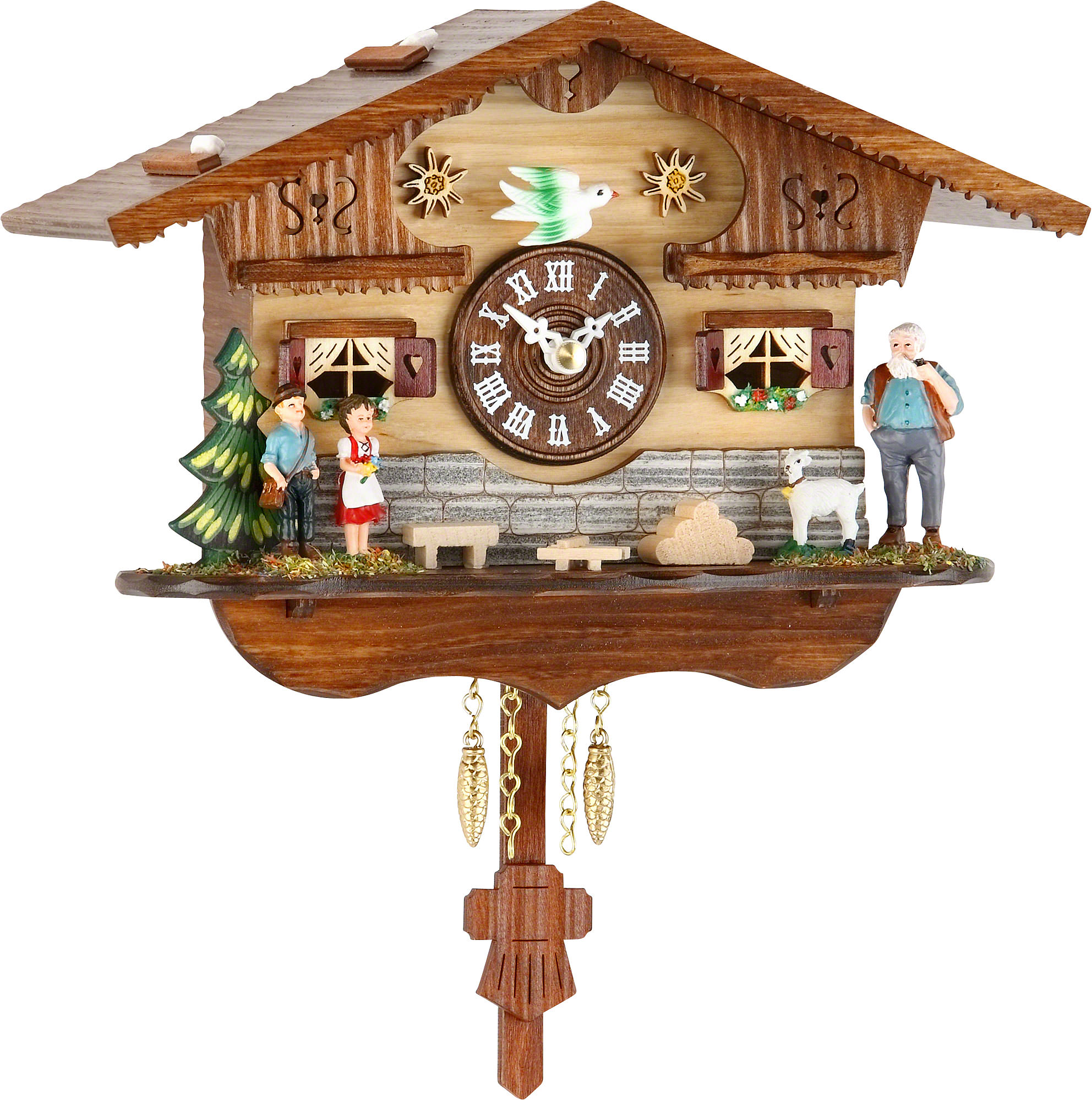 Cuckoo clock quartz movement black forest pendulum clock style 15cm by trenkle uhren 2042pq - Cuckoo clock pendulum ...