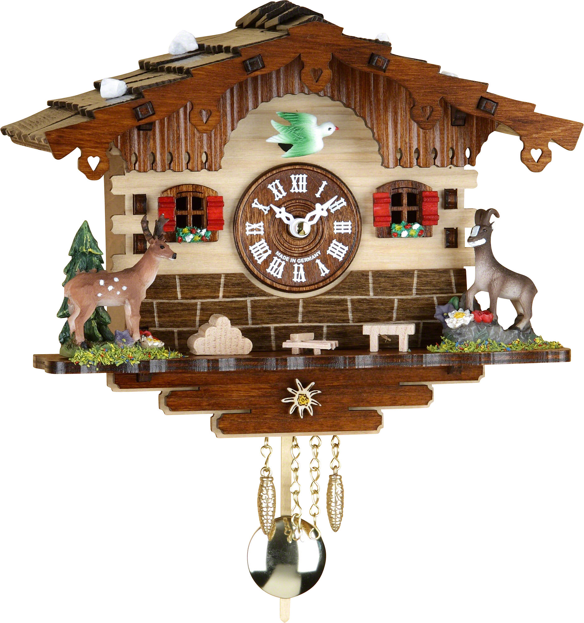 Cuckoo clock quartz movement black forest pendulum clock style 16cm by trenkle uhren 2036pq - Cuckoo clock pendulum ...