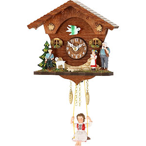 Black Forest Souvenir Clocks & Weather Houses Black Forest Swinging Doll Clock Kuckulino Quartz-movement 15cm by Trenkle Uhren