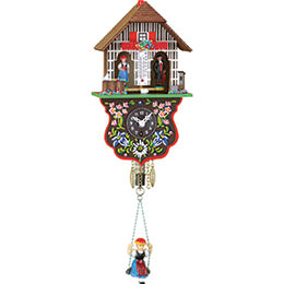 Black Forest Swinging Doll Clock 1-day-spring-movement 21cm by Trenkle Uhren