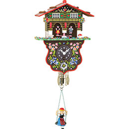 Black Forest Swinging Doll Clock 1-day-spring movement-movement 19cm by Trenkle Uhren
