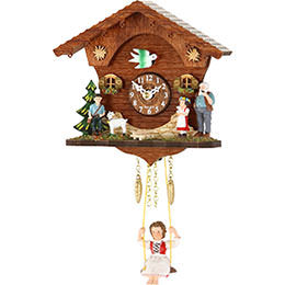 Black Forest Swinging Doll Clock Kuckulino Quartz-movement 15cm by Trenkle Uhren