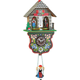 Black Forest Swinging Doll Clock Kuckulino Quartz-movement 22cm by Trenkle Uhren