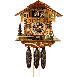 Cuckoo Clock 8-day-movement Chalet-Style 34cm by Hönes