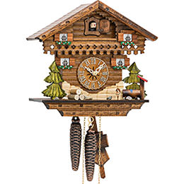 Cuckoo Clock Quartz-movement Chalet-Style 24cm by Hekas