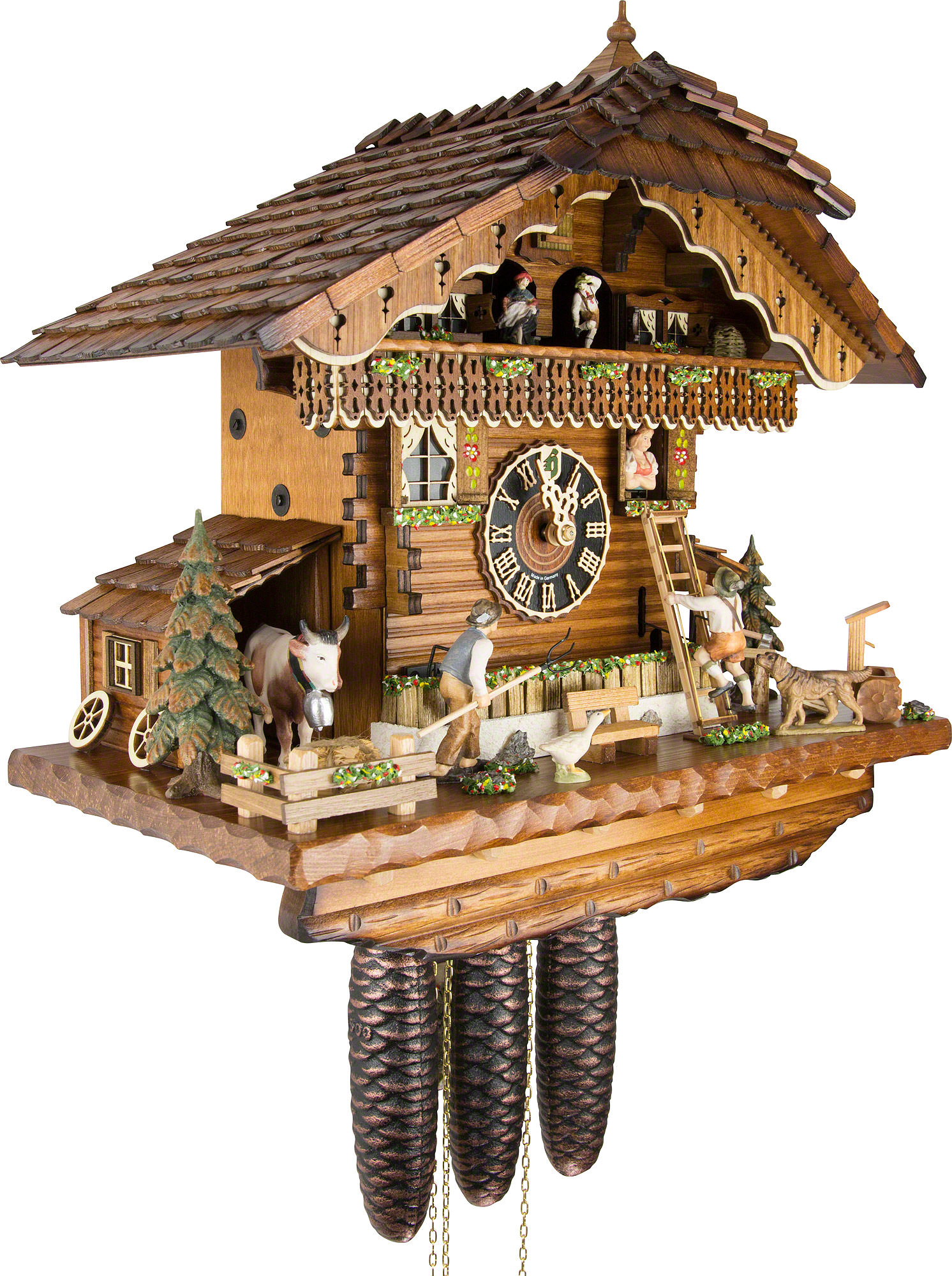 Cuckoo Clock 8 Day Movement Chalet Style 44cm By H Nes