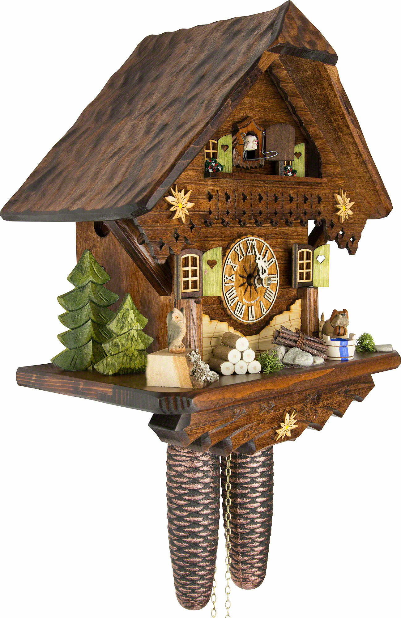 Cuckoo Clock 8 Day Movement Chalet Style 34cm By Cuckoo