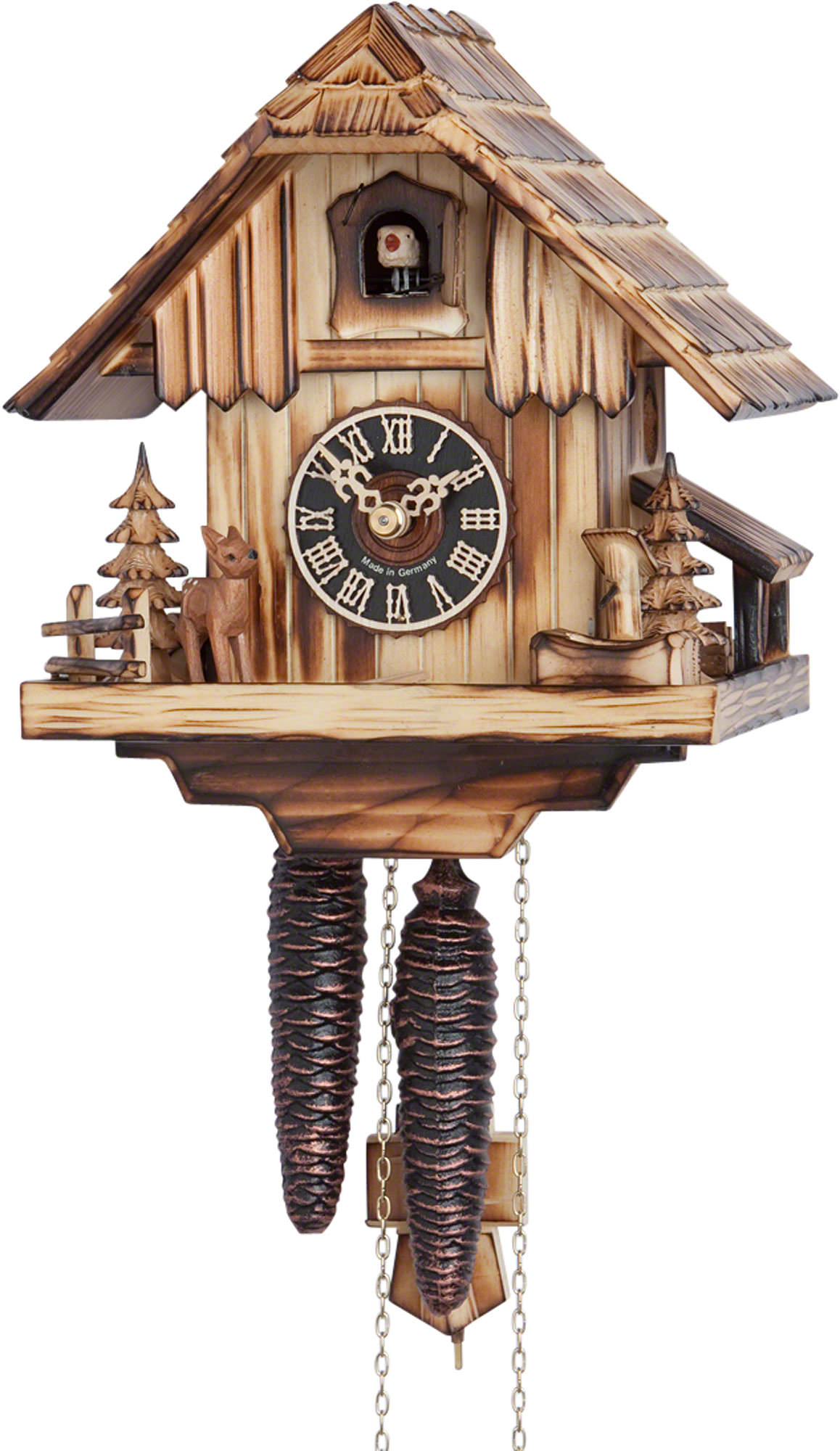 Cuckoo Clock 1-day-movement Chalet-Style 20cm by Hönes