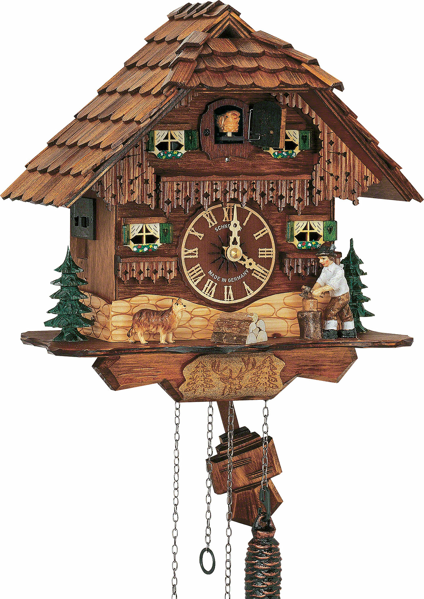 Cuckoo clock 1 day movement chalet style 26cm by anton for Www coo