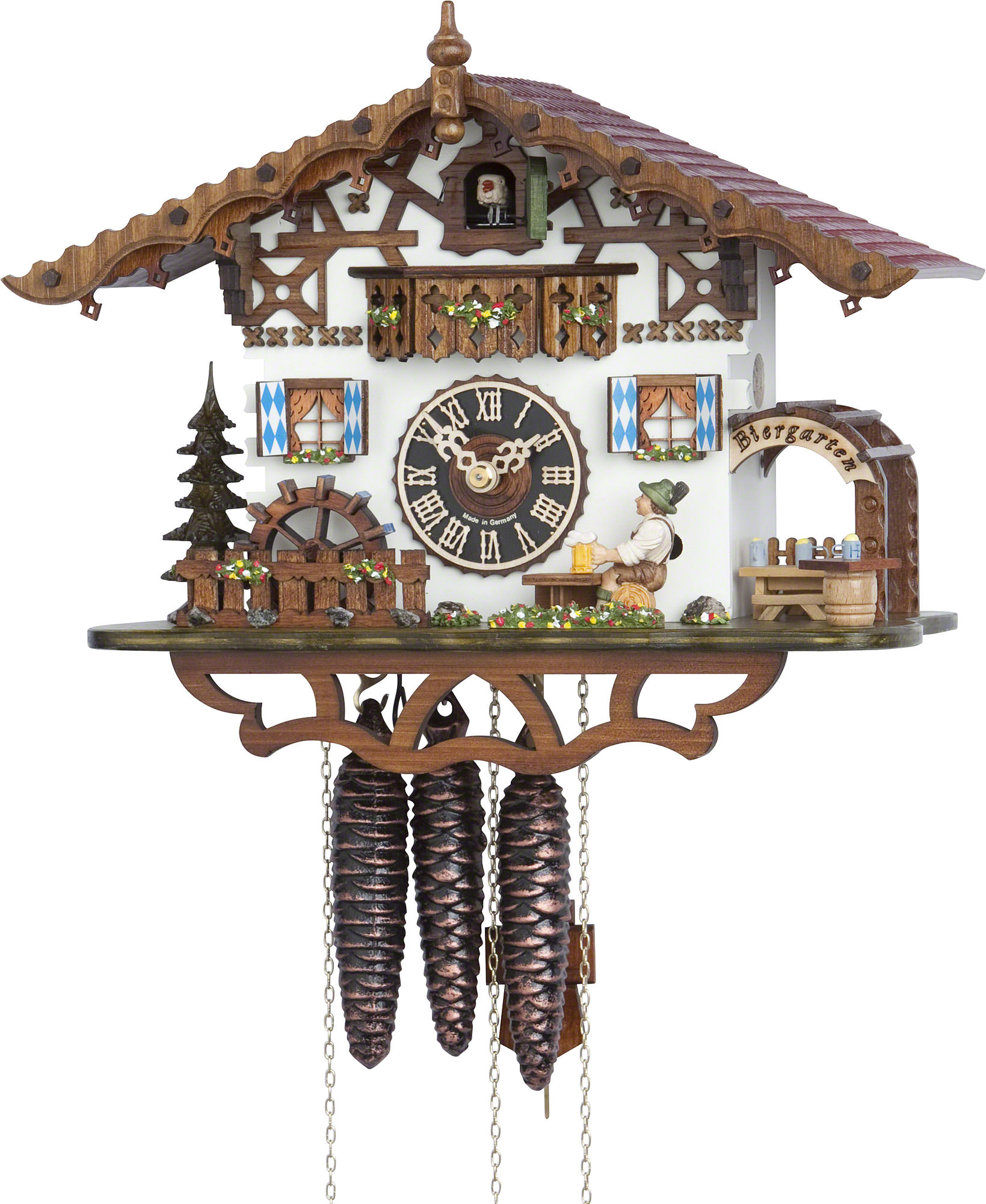 Cuckoo Clock 1 Day Movement Chalet Style 26cm By Hönes 665m