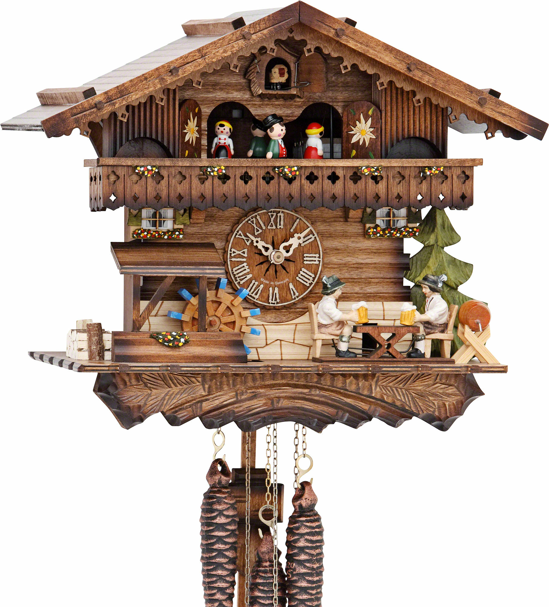 Cuckoo Clock 1 Day Movement Chalet Style 30cm By Hekas