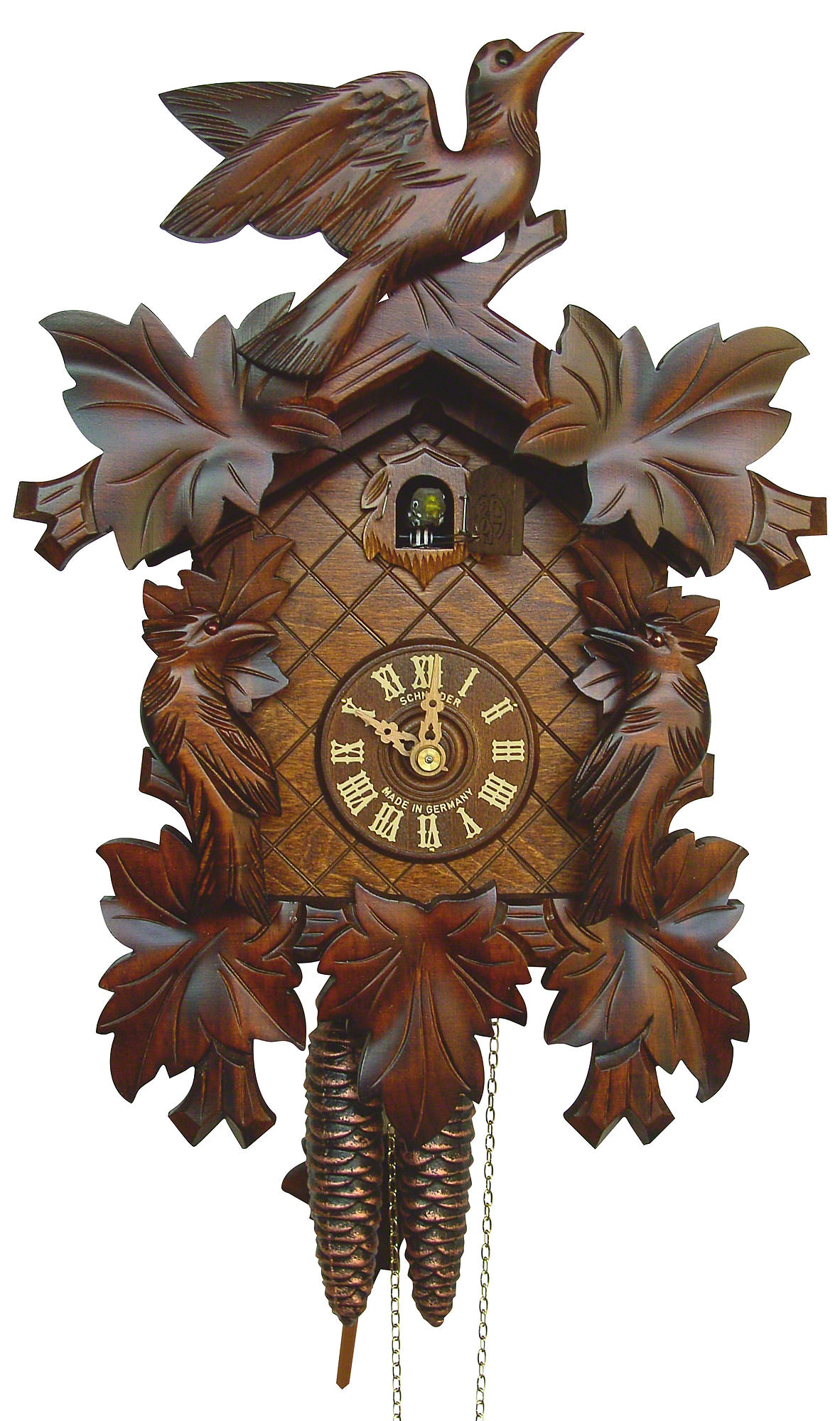 cuckoo clock 8 day movement carved style 34cm by anton schneider