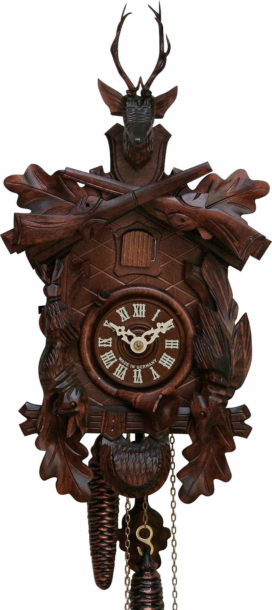 Cuckoo Clock 8 Day Movement Carved Style 40cm By Hekas