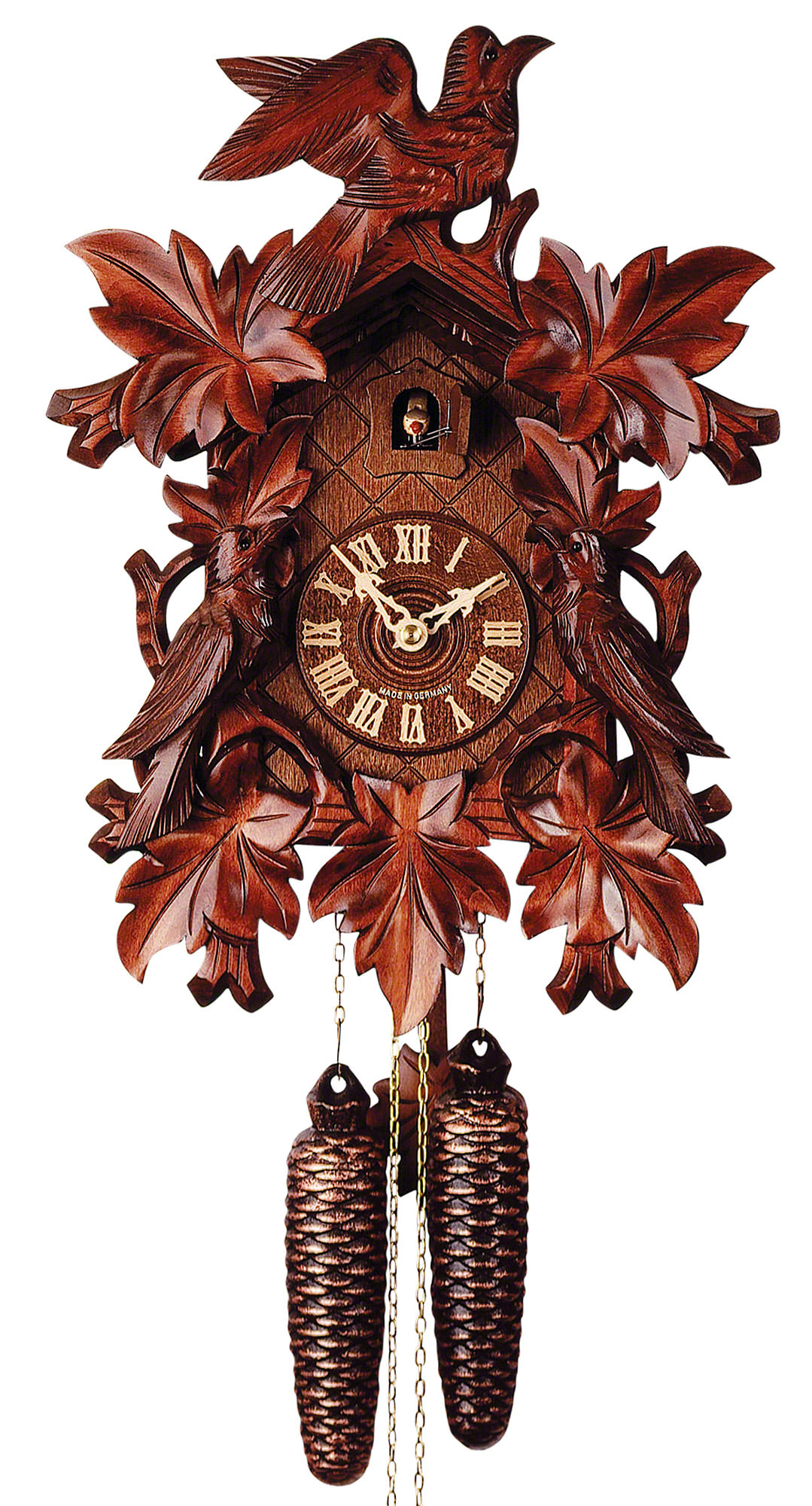 cuckoo clock 8 day movement carved style 40cm by rombach haas 3430. Black Bedroom Furniture Sets. Home Design Ideas