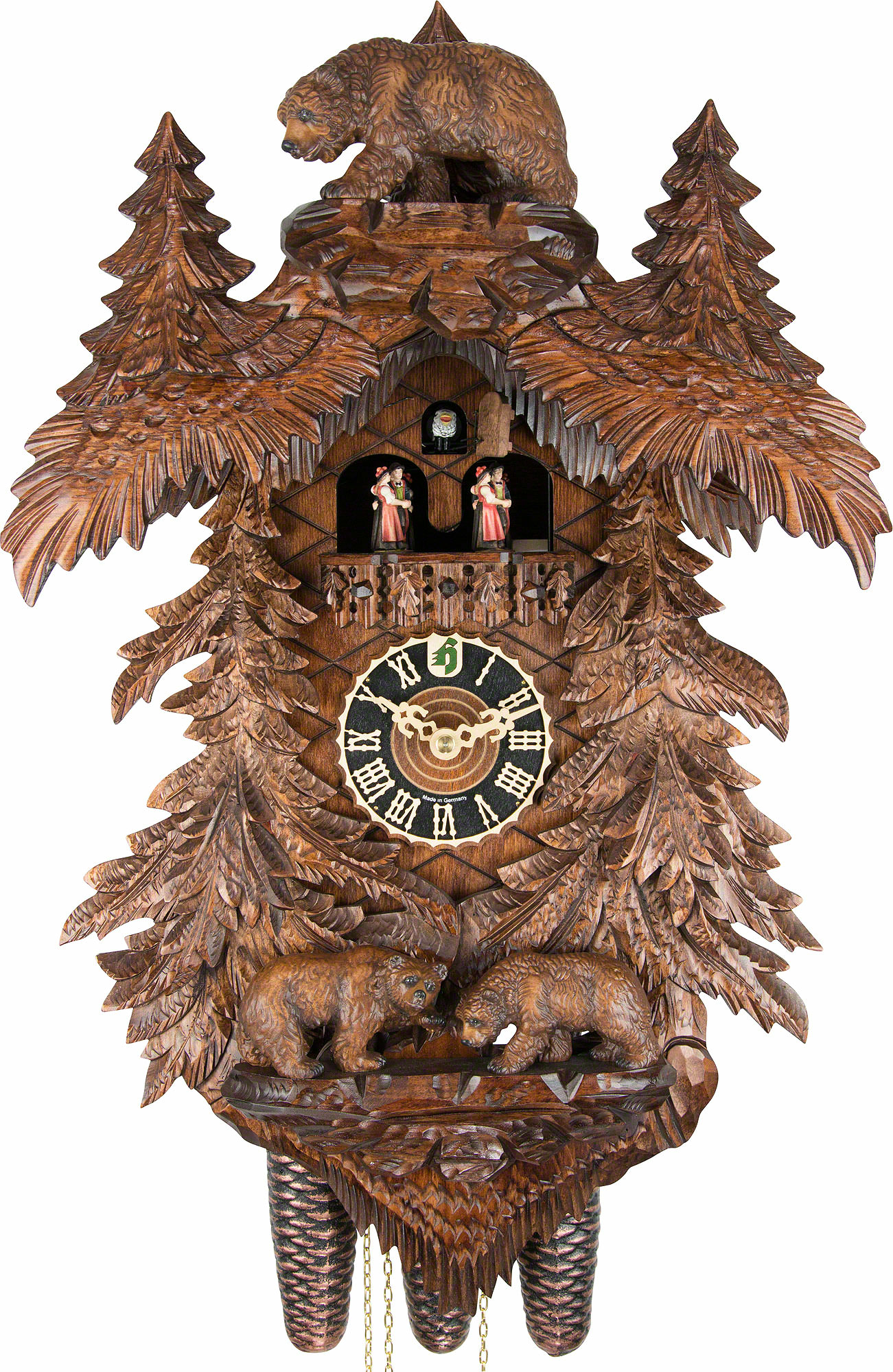 Cuckoo Clock 8daymovement CarvedStyle 58cm by Hnes 867095TKO