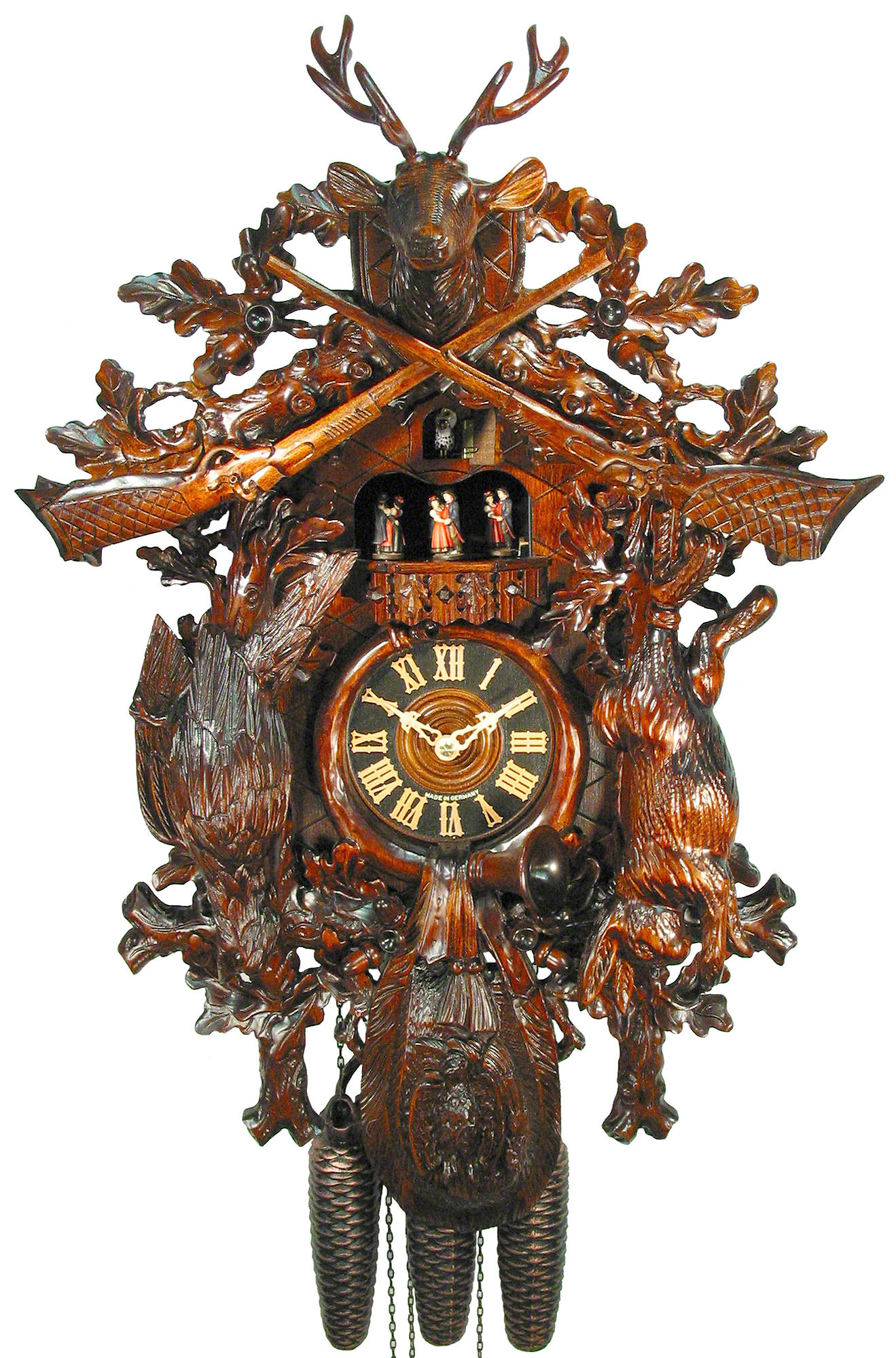 Cuckoo Clock 8 Day Movement Carved Style 67cm By August