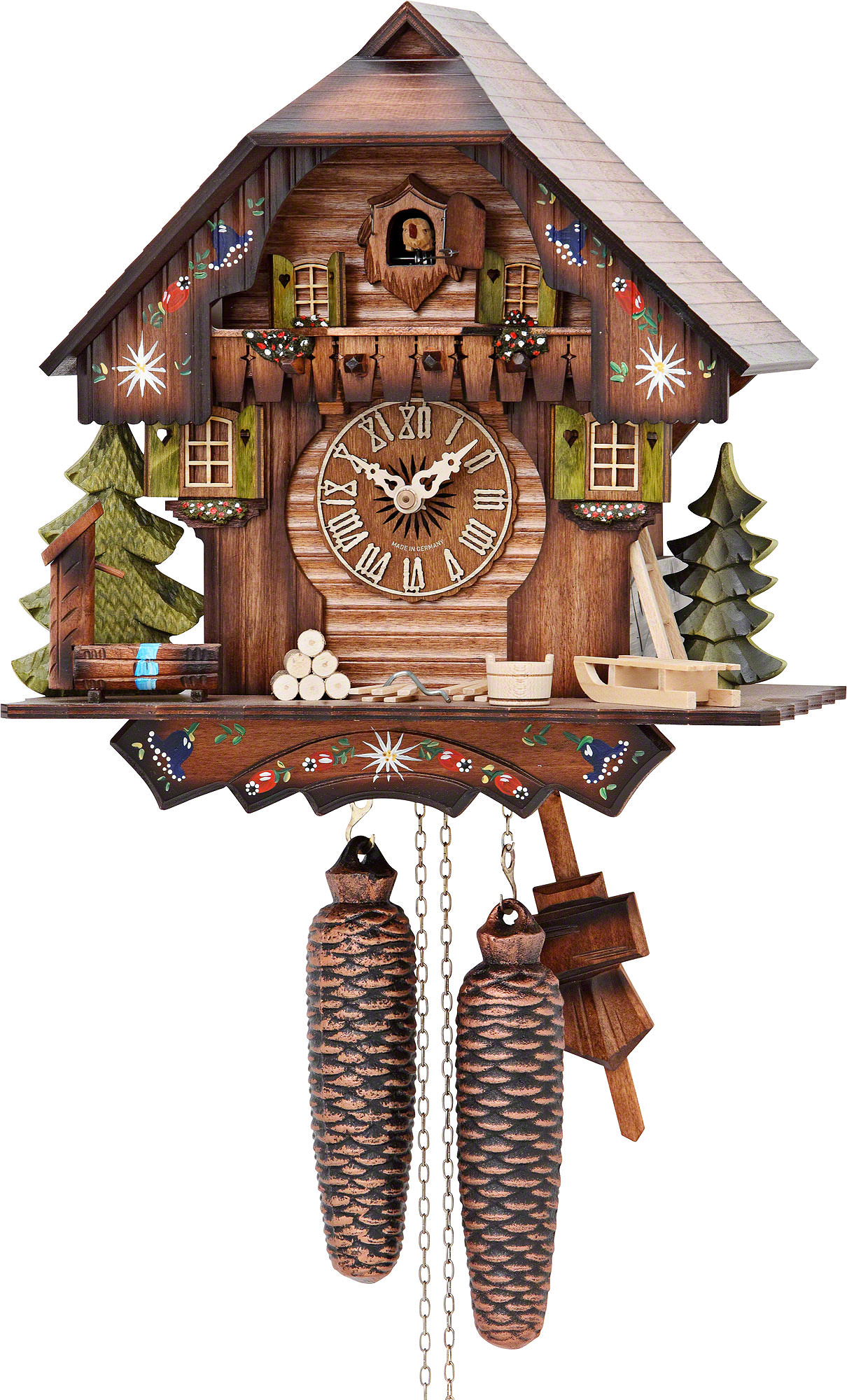 Cuckoo Clock 8-day-movement Chalet-Style 30cm by Hekas - 876 EX