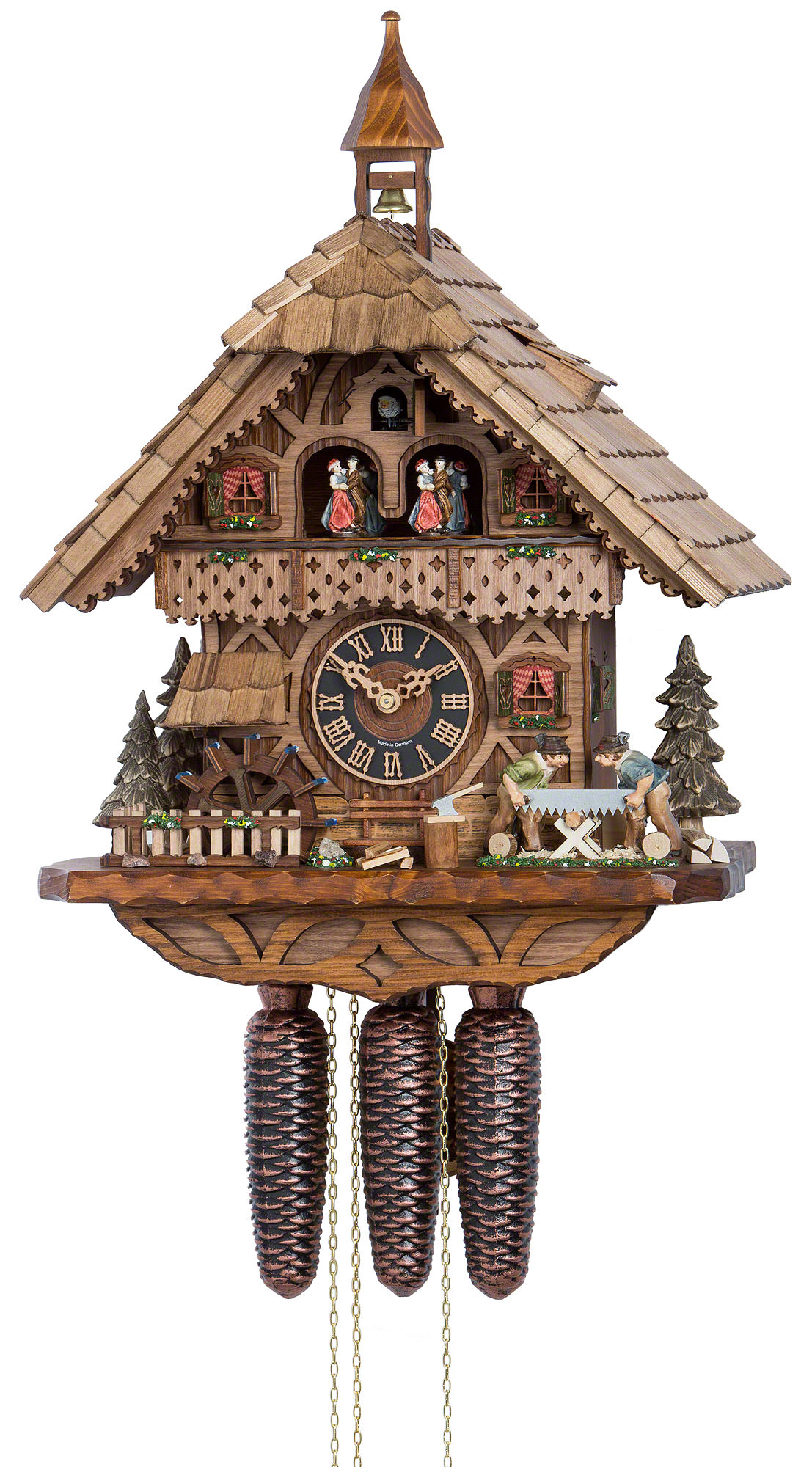 Cuckoo Clock 8-day-movement Chalet-Style 39cm by Hönes - 86258T
