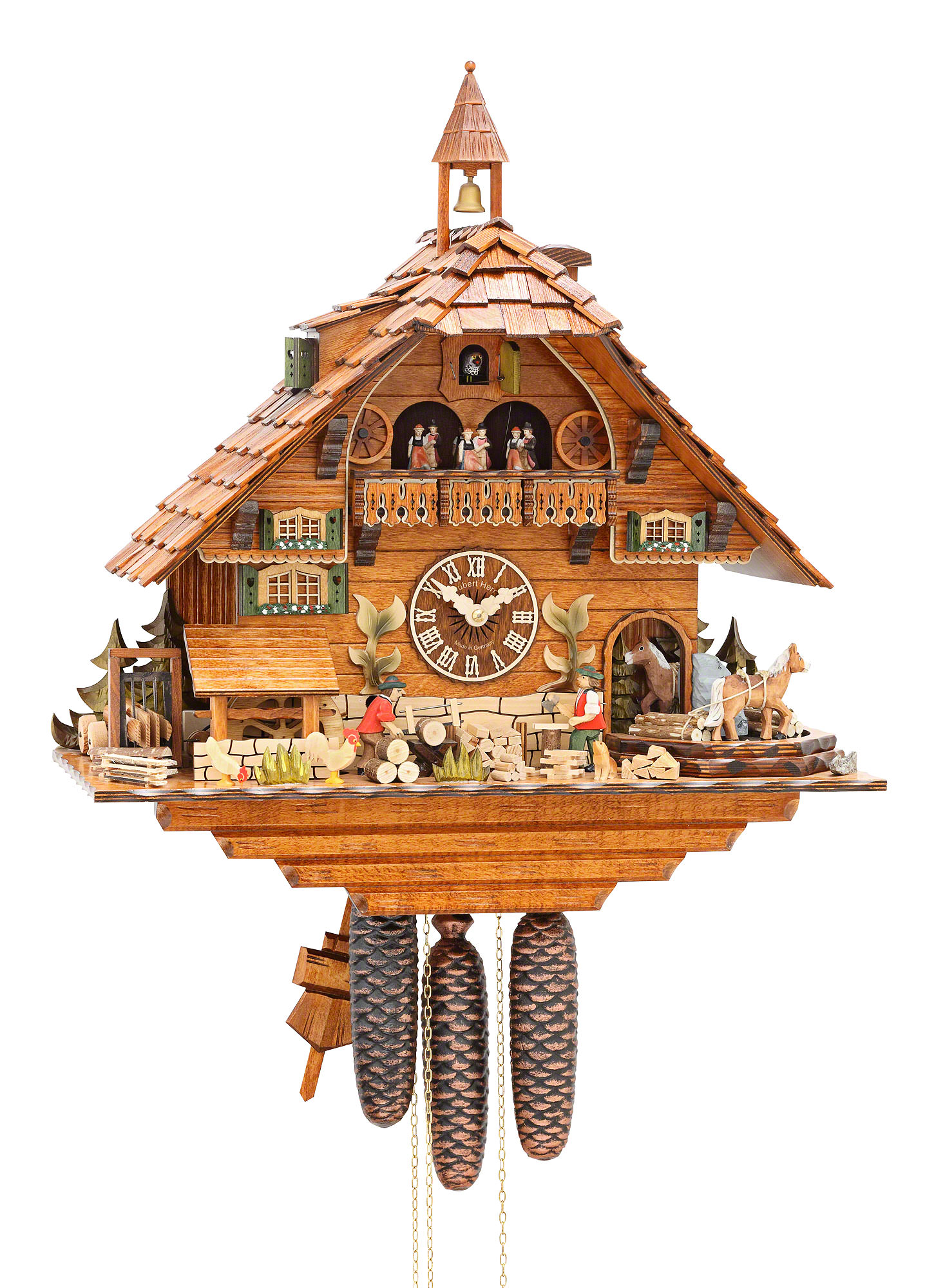 Cuckoo Clock 8 Day Movement Chalet Style 55cm By Hubert