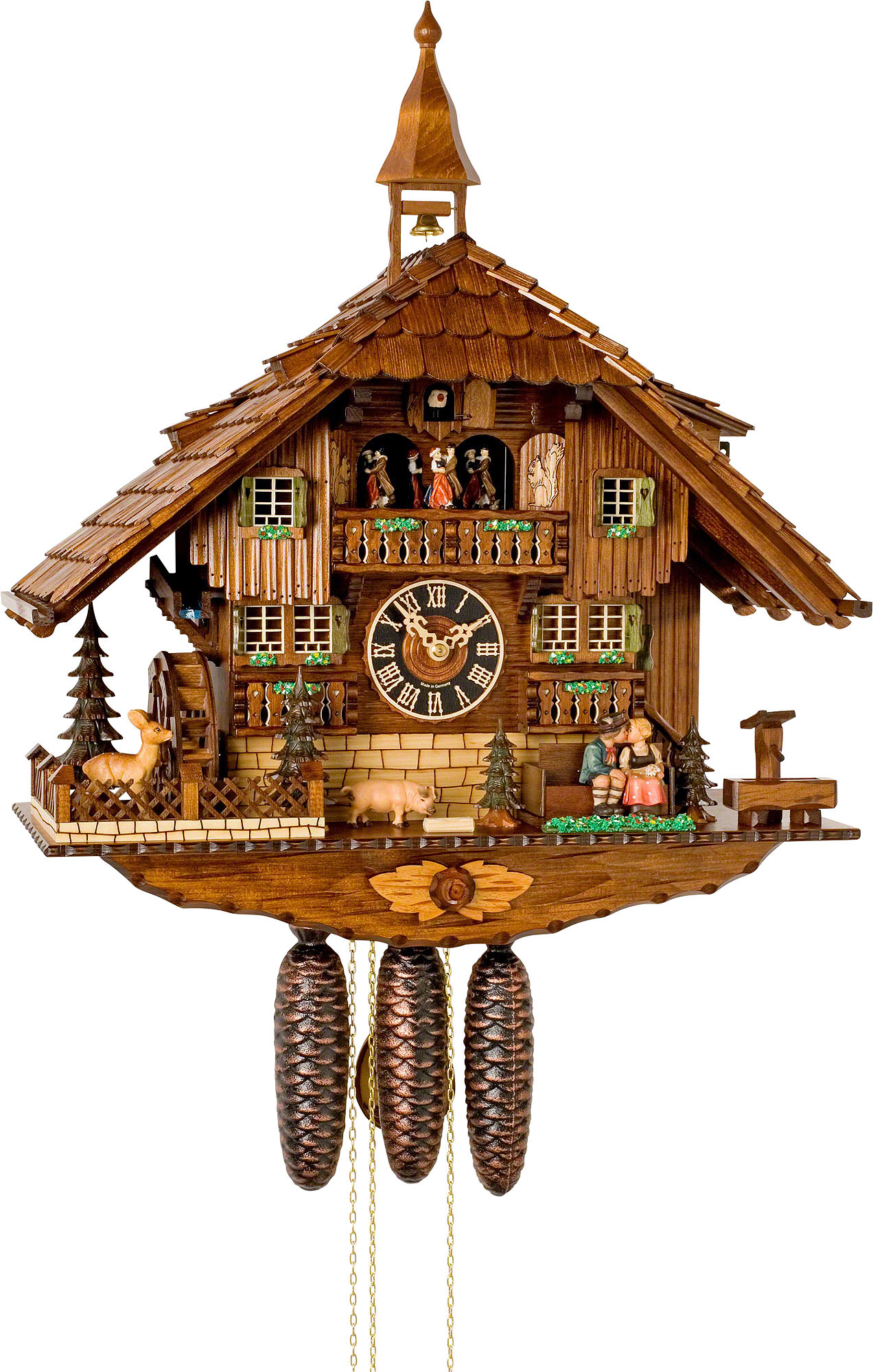 cuckoo clock 8 day movement chalet style 58cm by hönes 8638t