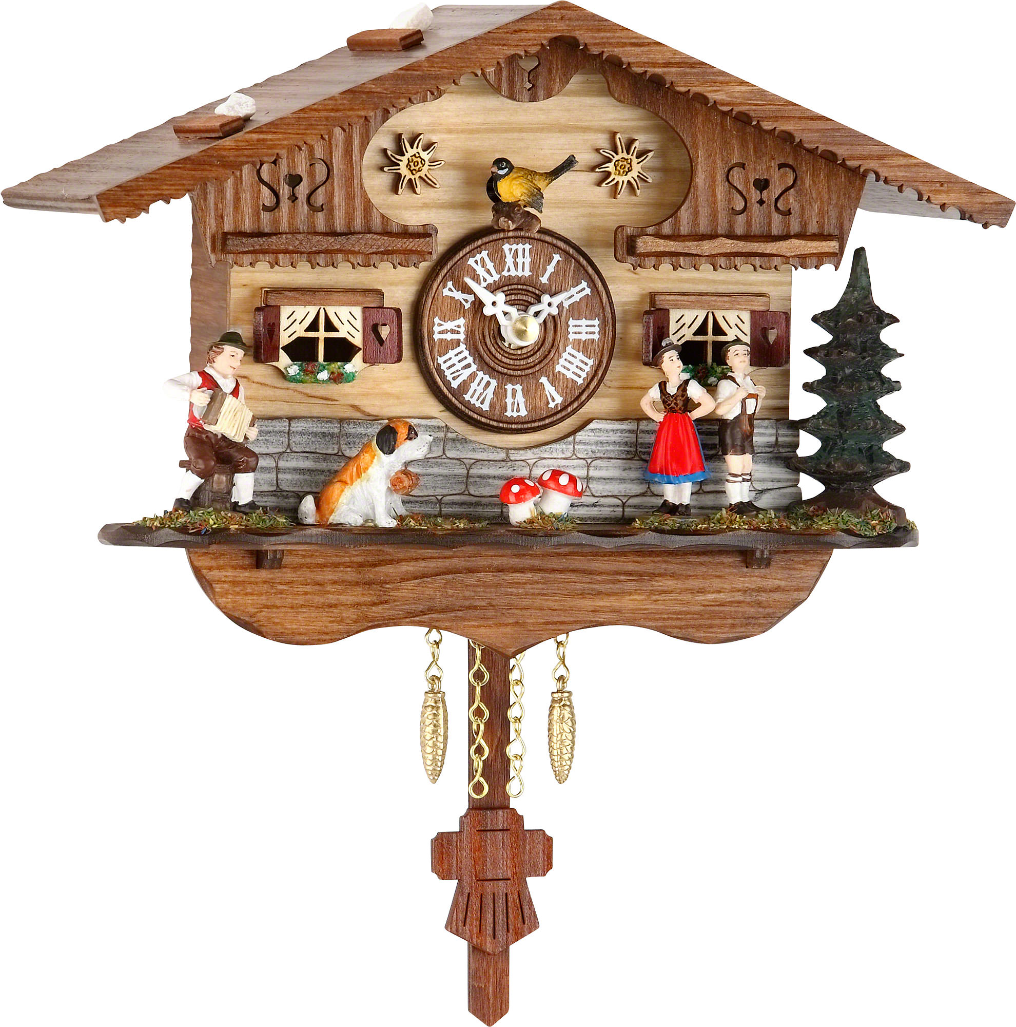 Cuckoo clock kuckulino quartz movement black forest pendulum clock style 16cm by trenkle uhren - Cuckoo clock pendulum ...