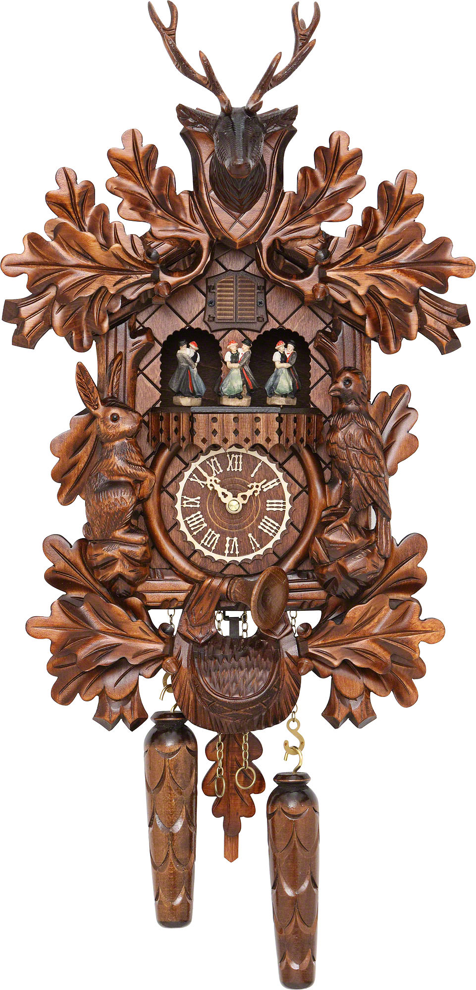 Cuckoo clock quartz movement carved style cm by trenkle