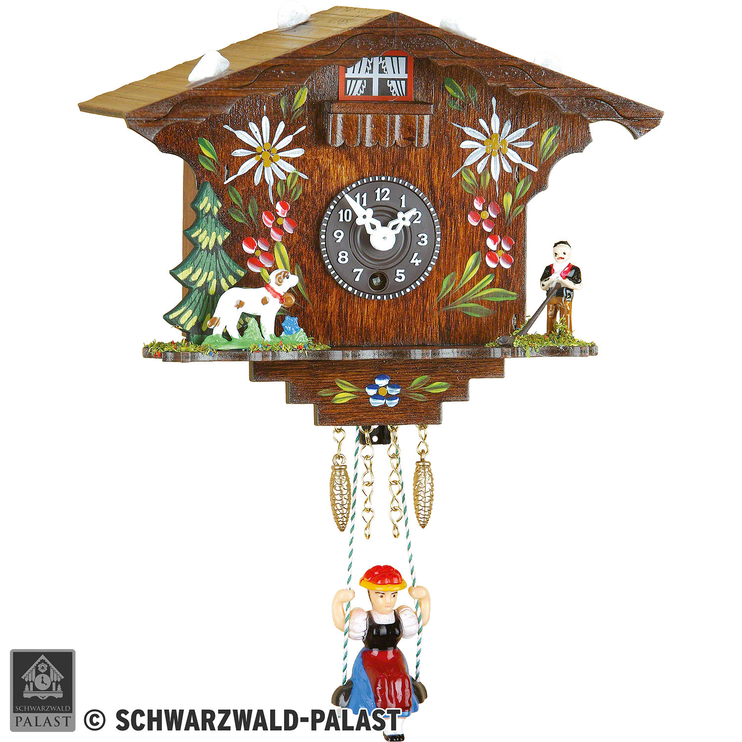 PMU Retro Style Vintage Wood Indoor Wall Clock with Swinging Pendulum,Black Forest Clock with Quartz Movement and Cuckoo Chime