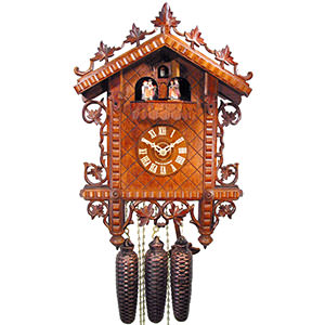 Antique Black Forest Clocks Antique replica clock 8-day-movement 36cm by August Schwer