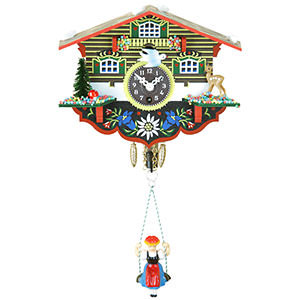 Black Forest Souvenir Clocks & Weather Houses Black Forest Swinging Doll Clock 1-day-spring movement 14cm by Trenkle Uhren