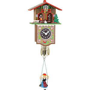 Black Forest Souvenir Clocks & Weather Houses Black Forest Swinging Doll Clock 1-day-spring-movement 17cm by Trenkle Uhren