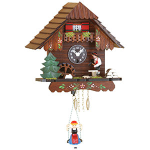 Black Forest Souvenir Clocks & Weather Houses Black Forest Swinging Doll Clock 1-day-spring movement 19cm by Trenkle Uhren