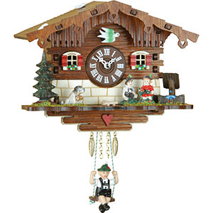 Black Forest Souvenir Clocks & Weather Houses Black Forest Swinging Doll Clock Kuckulino Quartz-movement 16cm by Trenkle Uhren