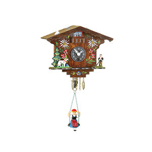 Black Forest Souvenir Clocks & Weather Houses Black Forest Swinging Doll Clock Quartz-movement 14cm by Trenkle Uhren