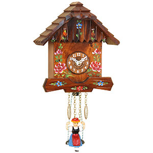 Black Forest Souvenir Clocks & Weather Houses Black Forest Swinging Doll Clock Quartz-movement 16cm by Trenkle Uhren