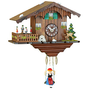 Black Forest Souvenir Clocks & Weather Houses Black Forest Swinging Doll Clock Quartz-movement 17cm by Trenkle Uhren