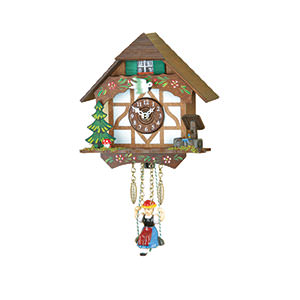 Black Forest Souvenir Clocks & Weather Houses Black Forest Swinging Doll Clock Quartz-movement 26cm by Trenkle Uhren