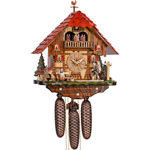 Chalet Cuckoo Clocks Cuckoo Clock 8-day-movement Chalet-Style 34cm by Hekas