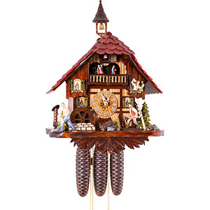 Chalet Cuckoo Clocks Cuckoo Clock 8-day-movement Chalet-Style 35cm by Hekas