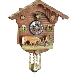 Black Forest Souvenir Clocks & Weather Houses Cuckoo Clock Kuckulino Quartz-movement Black Forest Pendulum Clock-Style 15cm by Trenkle Uhren
