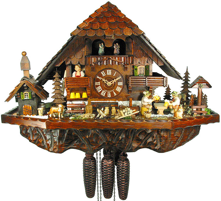 Cuckoo Clock 8 Day Movement Chalet Style 42cm By August